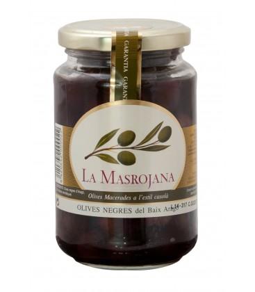 La Masrojana schwarze Empeltre-Oliven mit Stein, 220g